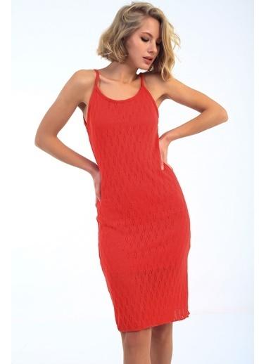 Emjey Askılı Yün Çilek Desen Elbise Kırmızı